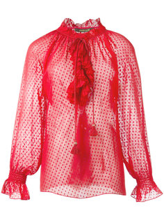 прозрачная блузка с оборками Roberto Cavalli