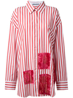 oversized devoré patch stripe shirt Mikio Sakabe