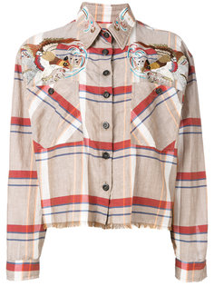 bird shoulder frayed shirt  As65