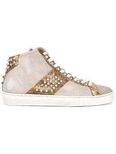 metallic embellished sneakers Leather Crown