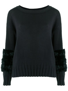 fur trimmed knit top Andrea Bogosian