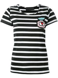 полосатая укороченная футболка с заплатками Michaela Buerger