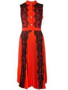 плиссированное платье-рубашка с кружевом Ainea