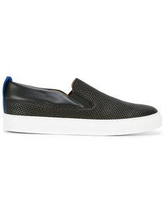 кроссовки с контрастной синей вставкой Emporio Armani