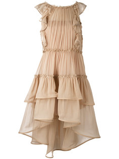платье без рукавов с ярусными оборками  Alberta Ferretti
