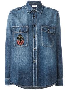 джинсовая рубашка в стиле милитари Saint Laurent