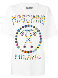 футболка с вышивкой зеркальцами Moschino