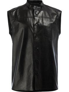 кожаная рубашка без рукавов Saint Laurent