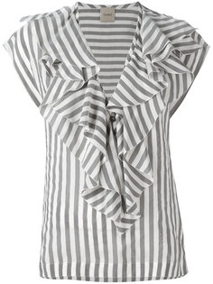 блузка в полоску с оборкой Nude
