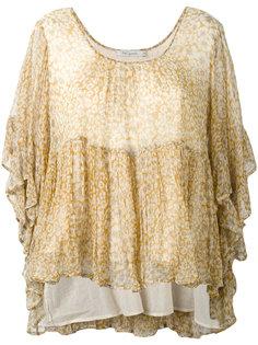 блузка с цветочным принтом и оборкой  Mes Demoiselles