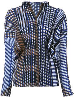 geometric print plissé blouse Issey Miyake