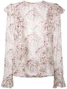 блузка с рюшами и цветочным принтом Giambattista Valli