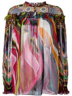 полупрозрачная блузка с абстрактным принтом Roberto Cavalli