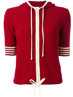 shortsleeved drawstring knitted hoodie Red Valentino