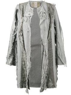 пальто с вышивкой и потертой отделкой By Walid