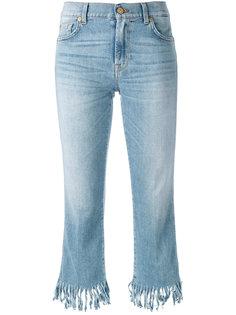укороченные джинсы с бахромой 7 For All Mankind