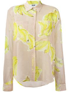 прозрачная рубашка с принтом бананов MSGM