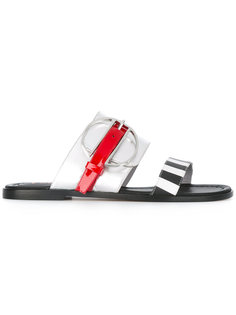 striped slip-on sandals Pollini