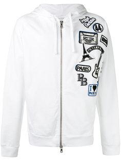 logo patch zipped hoodie  Pierre Balmain