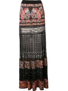 жаккардовая юбка с кружевным вставками Roberto Cavalli