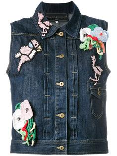 джинсовая куртка без рукавов с заплатками Michaela Buerger