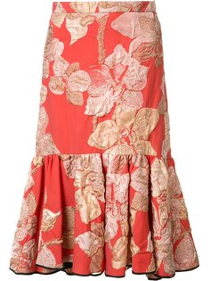 embroidered flowers pleated skirt Tome