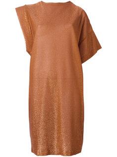 асимметричное платье из блестящего трикотажа Nude