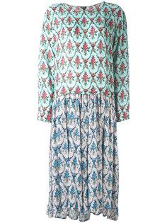 длинное платье с цветочным принтом Jil Sander Navy