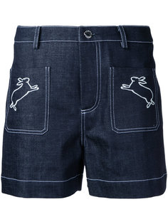 rabbits embroidered denim shorts Markus Lupfer