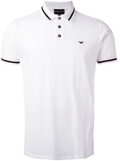 футболка-поло с полосатой окантовкой Emporio Armani
