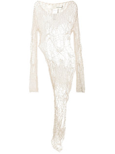 open knit asymmetric blouse Isabel Benenato