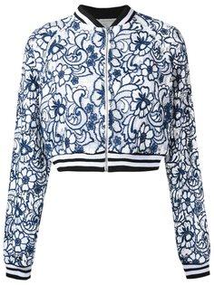 floral lace bomber jacket Martha Medeiros
