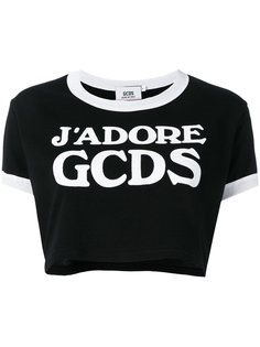 logo cropped T-shirt  Gcds