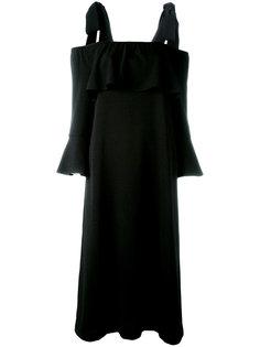 платье с открытыми плечами и рукавами клеш Ganni