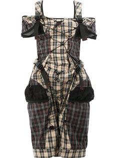 платье в клетку с лямками на пряжках Maison Margiela