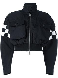 куртка-бомбер  с панелями в клетку Dsquared2
