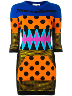 вязаное платье в стиле пэчворк Moschino