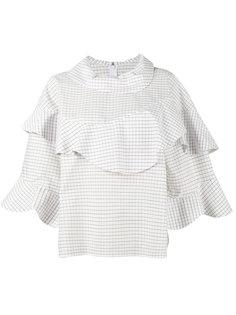check frill bib blouse A.W.A.K.E. Awake