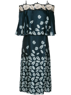 leaf print off-shoulder dress Yigal Azrouel
