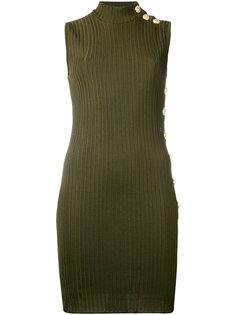 ребристое платье с высоким горлом Balmain