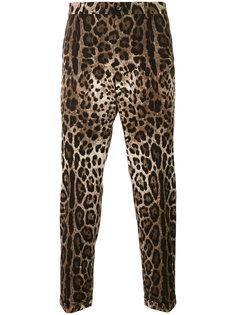 брюки с леопардовым принтом Dolce & Gabbana
