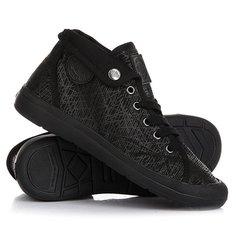 Кеды кроссовки высокие женские Palladium Aventure Black/Black/Spider Print