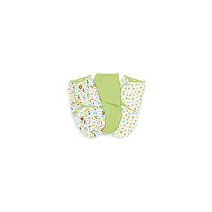 Конверт на липучке Swaddleme, размер S/M, 3шт., Summer Infant, зеленый /алфавит/горошки