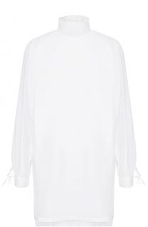 Удлиненная хлопковая блуза прямого кроя с воротником-стойкой Dries Van Noten