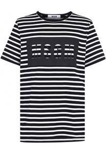 Хлопковая футболка в контрастную полоску MSGM
