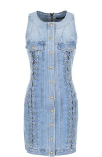 Джинсовое платье-футляр со шнуровкой Balmain