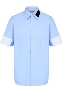 Хлопковая рубашка свободного кроя с контрастной отделкой Marni