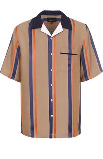 Рубашка из вискозы свободного кроя с шелковой отделкой 3.1 Phillip Lim