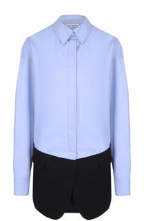 Хлопковая блуза прямого кроя с контрастной отделкой Paco Rabanne