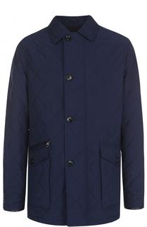 Стеганая куртка на молнии с отделкой из натуральной кожи Ermenegildo Zegna
